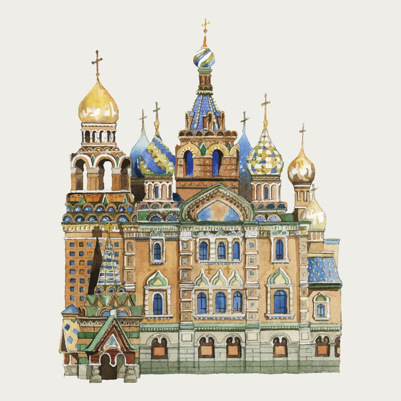 Иллюстрация акварели собора базилика Святого иллюстрация штока
