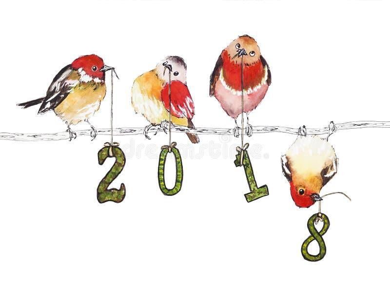 Иллюстрация акварели с птицами на Новый Год 2018 стоковые изображения rf