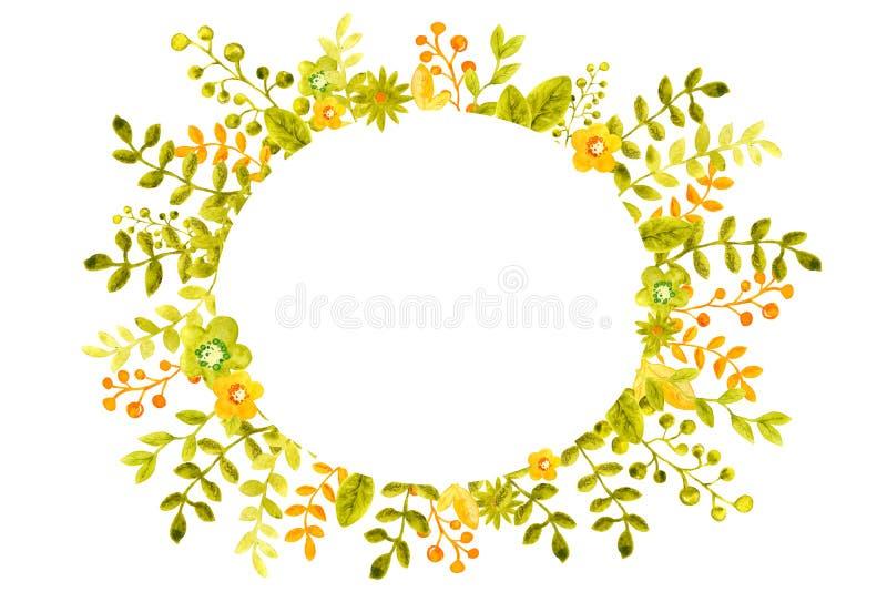 Иллюстрация акварели с рамками изображения от цветков, хворостин и листьев, зеленого и апельсин, для дизайна знамен, плакаты иллюстрация вектора