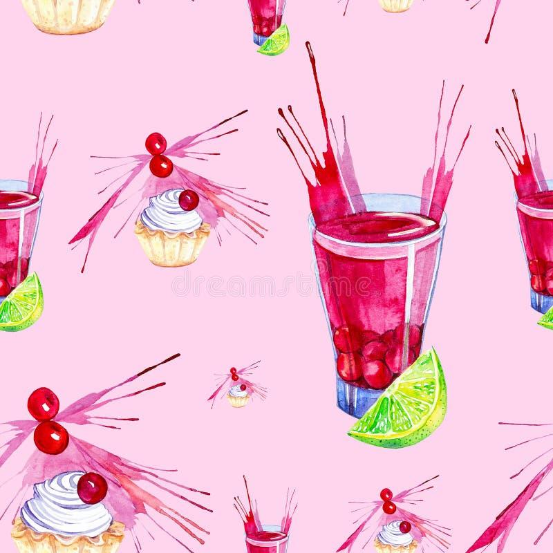 Иллюстрация акварели торта украшенная с красным выплеском сока вишни, известки и вишни в стекле Изолировано на красной предпосылк иллюстрация штока
