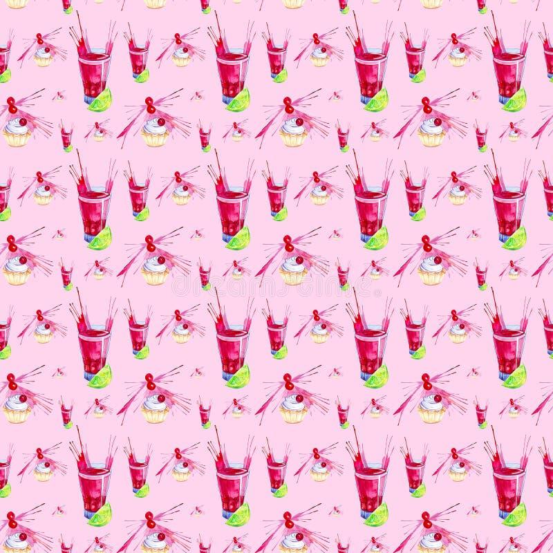 Иллюстрация акварели торта украшенная с красным выплеском сока вишни, известки и вишни в стекле Изолировано на красной предпосылк бесплатная иллюстрация