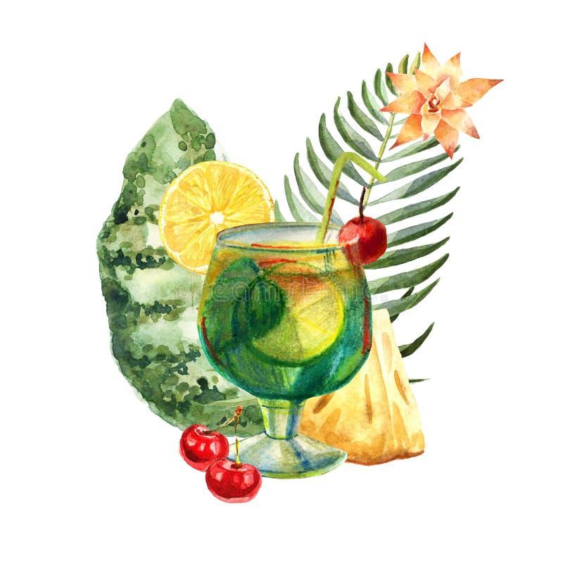 Иллюстрация акварели тропическая с коктейлем, плодами и цветками лета иллюстрация штока