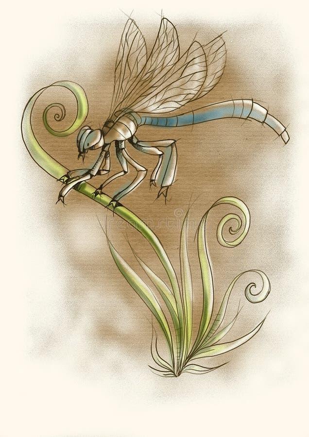 Иллюстрация акварели цифров dragonfly стоковые изображения