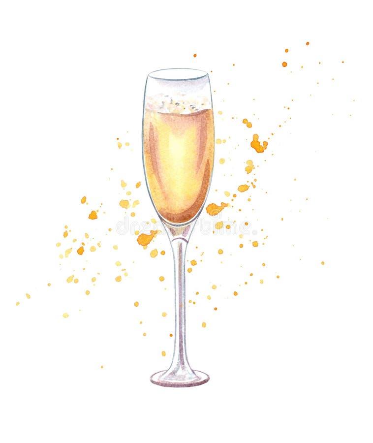 Иллюстрация акварели Шампани стеклянная стоковое изображение rf