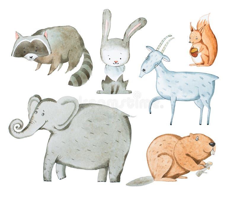 Иллюстрация акварели aquarelle животных нарисованного рукой иллюстрация штока
