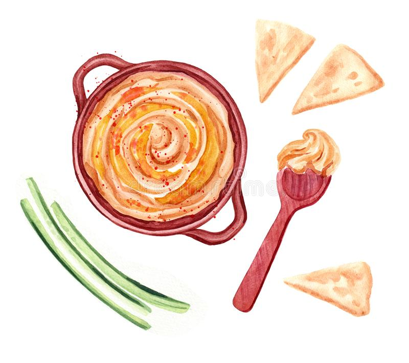 Иллюстрация акварели Hummus с овощами, пита и ложкой иллюстрация штока