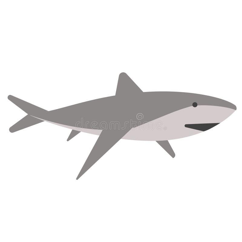 Иллюстрация акулы плоская на белизне бесплатная иллюстрация