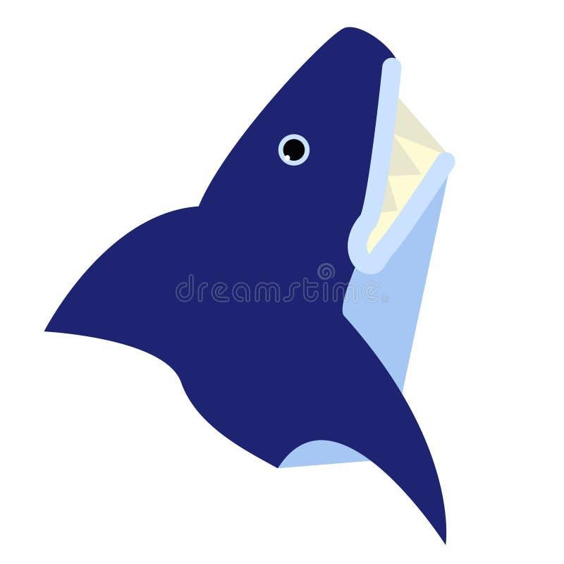 Иллюстрация акулы плоская на белизне иллюстрация вектора