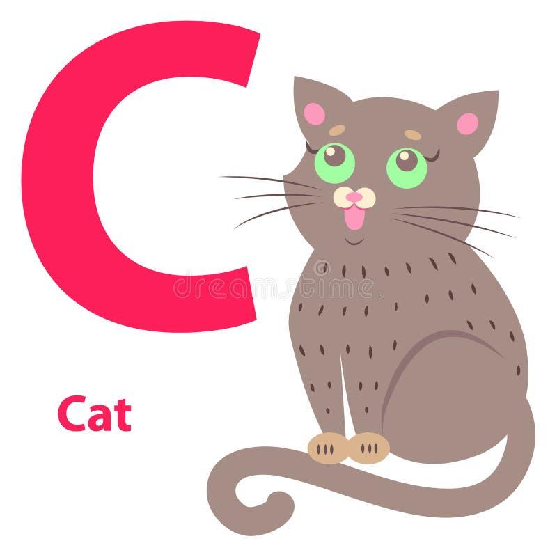 Иллюстрация алфавита для письма c с милым котом иллюстрация штока