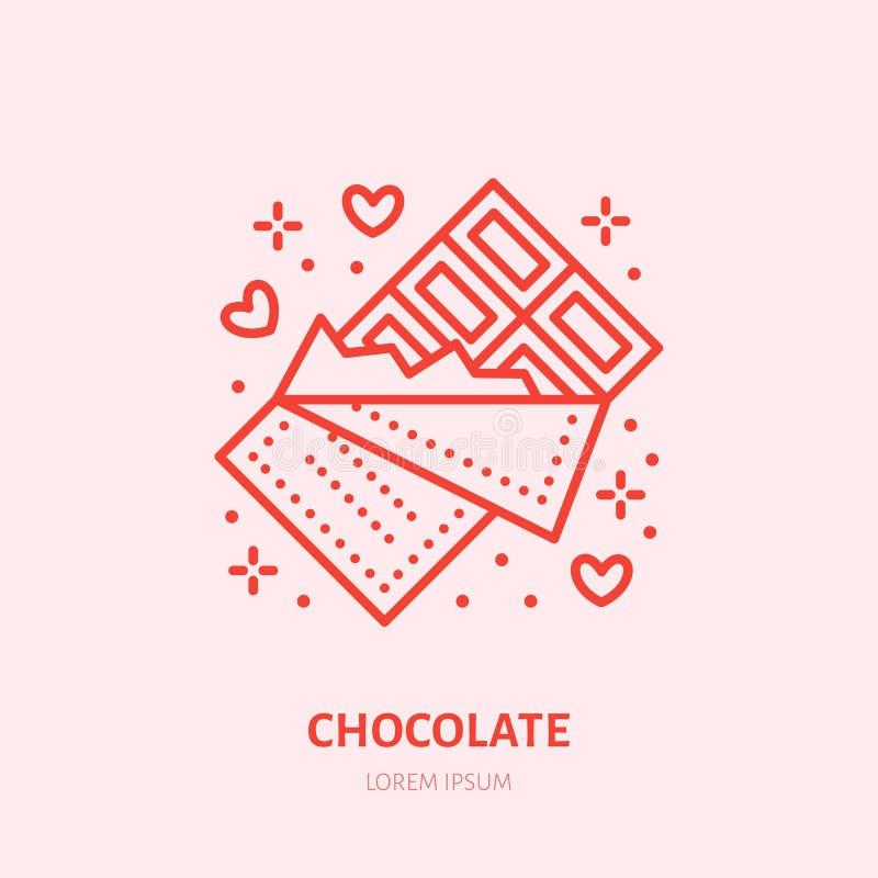 иллюстрация архива шоколада штанги ai имеющаяся Линия значок помадок плоская, логотип магазина конфеты Знак настоящего момента дн иллюстрация вектора