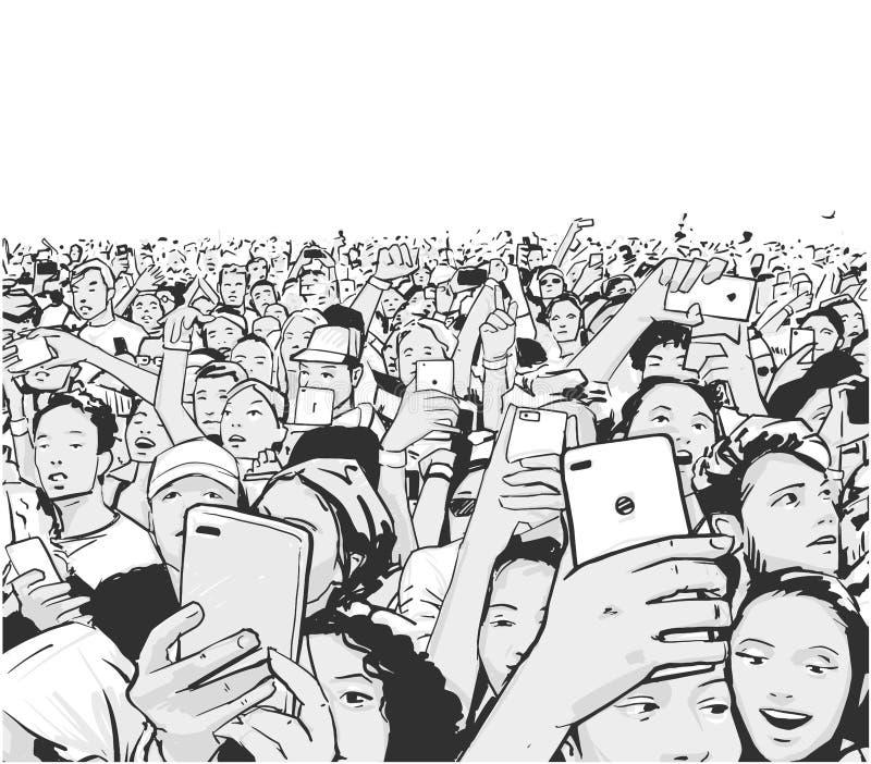 Рисунок в стиле комиксов идущая толпа людей