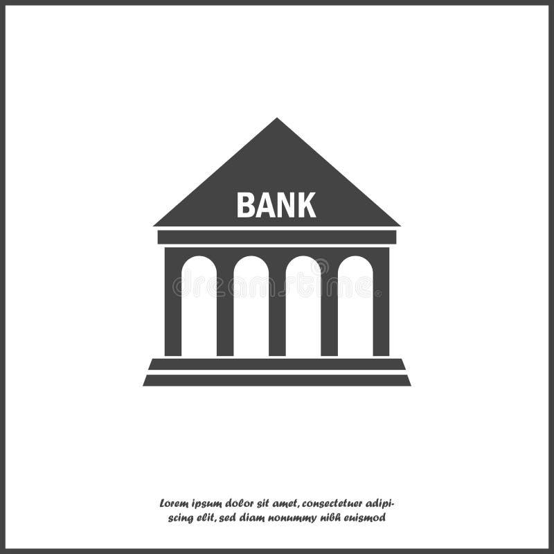 Иллюстрация банка здания значка вектора на белой изолированной предпосылке Слои собранные для легкой редактируя иллюстрации иллюстрация штока