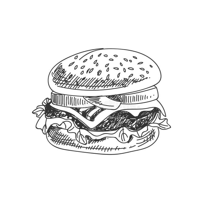 Иллюстрация бургера вектора нарисованная рукой иллюстрация вектора