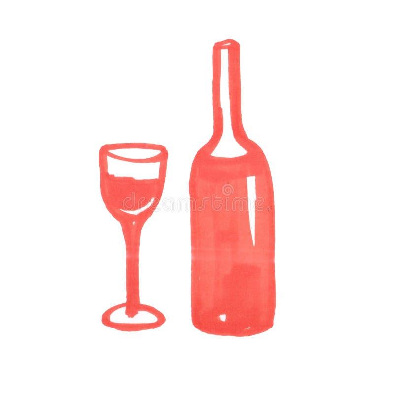 Иллюстрация бутылки и стекла красного вина иллюстрация вектора