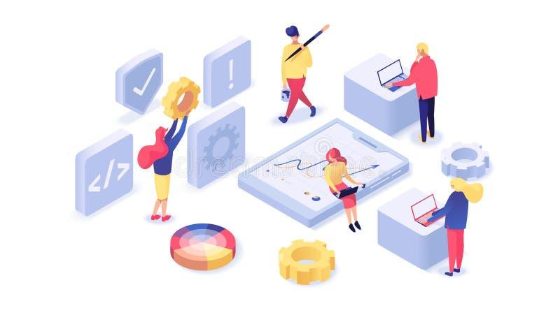 Иллюстрация веб-дизайна и развития равновеликая иллюстрация вектора