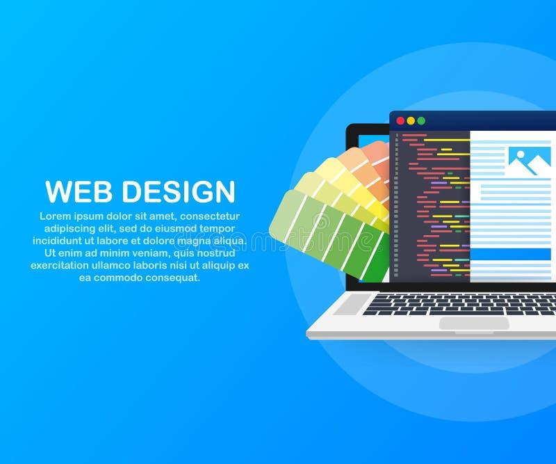 иллюстрация веб-дизайна Концепция создания вебсайтов, конструированных знамен для ui, дизайна ux и веб-дизайна также вектор иллюс бесплатная иллюстрация