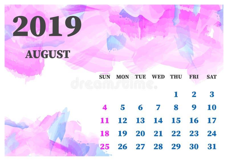 Иллюстрация вектора акварели августа 2019 календаря Слои собранные для легкой редактируя иллюстрации конструируйте ваше иллюстрация штока