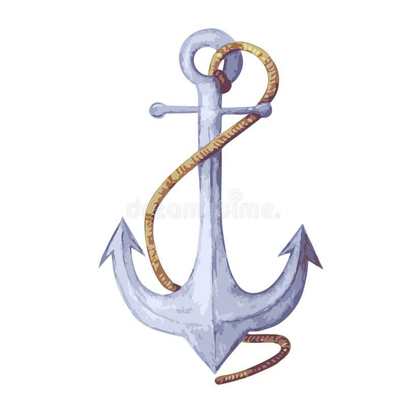 Иллюстрация вектора акварели анкера голубой анкер с веревочкой анкер изолированный на белом фоне бесплатная иллюстрация