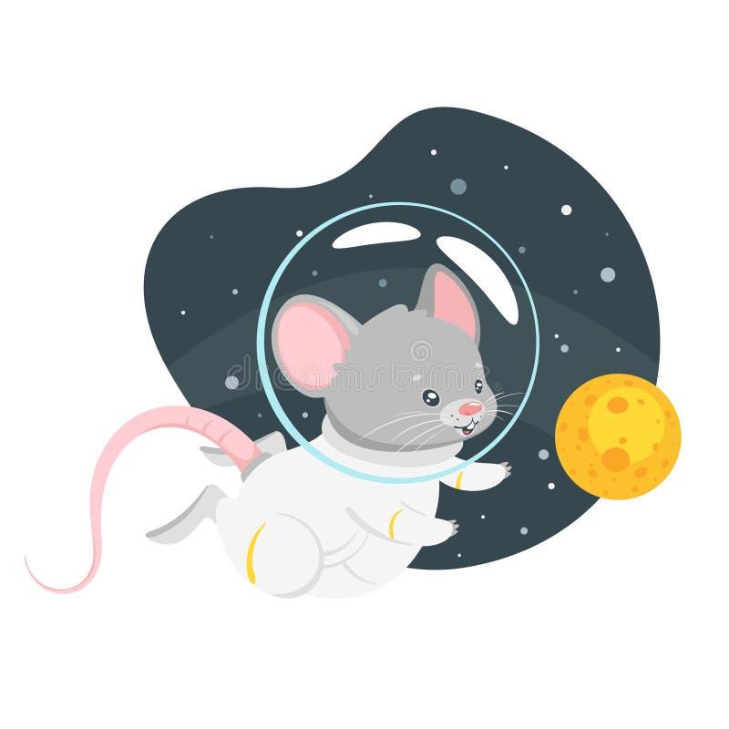 Иллюстрация вектора астронавта мыши плоская иллюстрация штока