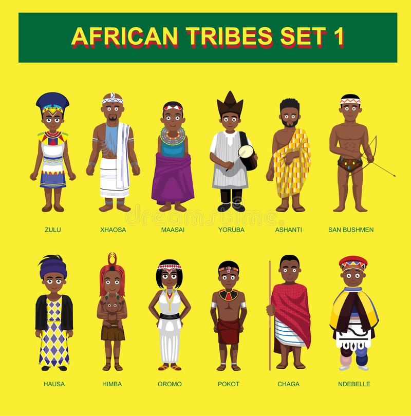 Иллюстрация вектора африканского шаржа характеров племен милого установленная иллюстрация вектора