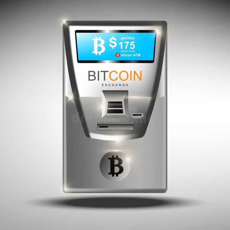 Иллюстрация вектора банкомата bitcoins ATM Секретные концепции tranfers валюты Машина Bitcoin автоматизированная ATM иллюстрация штока