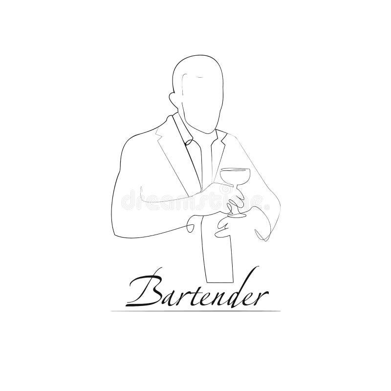 Иллюстрация вектора бармена Стиль плана иллюстрация штока