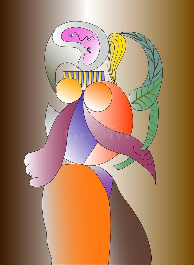Иллюстрация вектора большей женщины художника с цветком Картина портрета EPS10 стоковое изображение