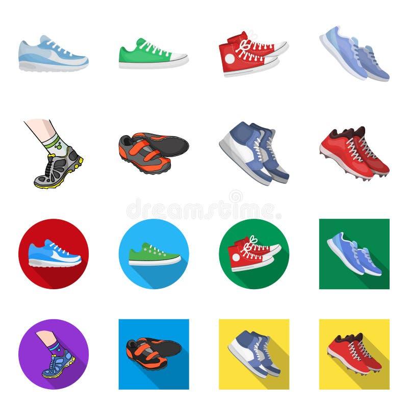 Иллюстрация вектора ботинка и знака спорта Установите ботинка и сокращенного названия выпуска акций фитнеса для сети иллюстрация штока