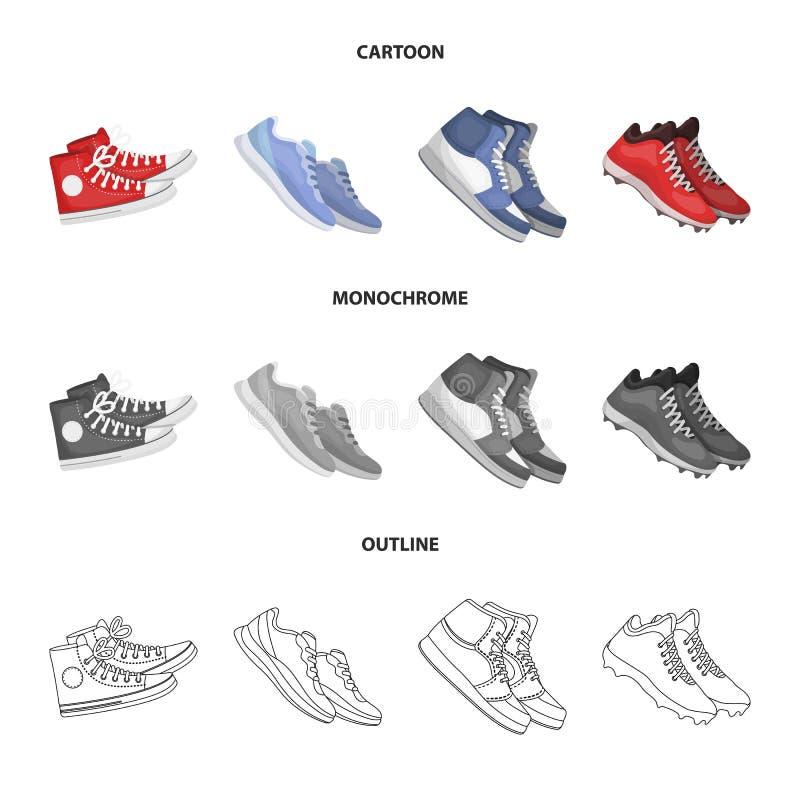 Иллюстрация вектора ботинка и значка спорта Установите ботинка и иллюстрации вектора запаса фитнеса иллюстрация вектора