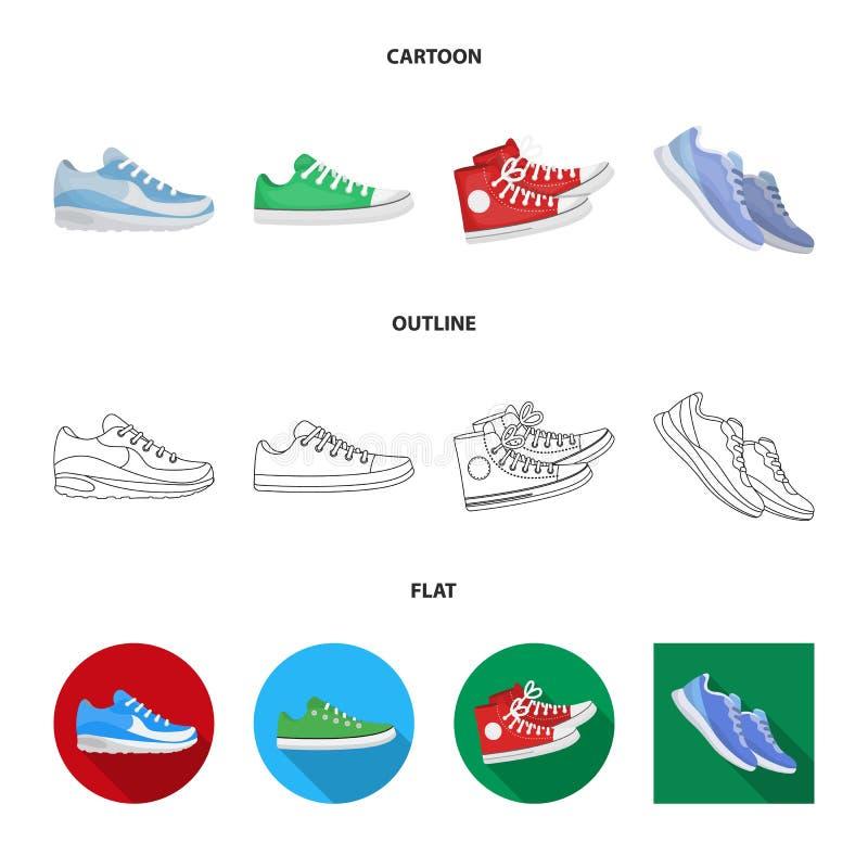Иллюстрация вектора ботинка и логотипа спорта Собрание ботинка и значок вектора фитнеса для запаса иллюстрация штока