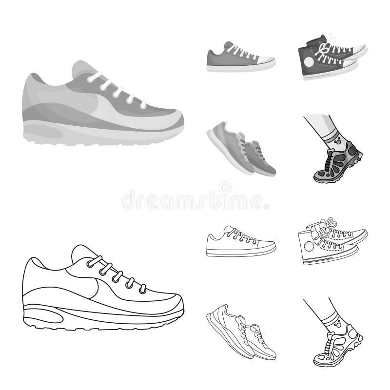 Иллюстрация вектора ботинка и логотипа спорта Собрание ботинка и иллюстрации вектора запаса фитнеса иллюстрация штока