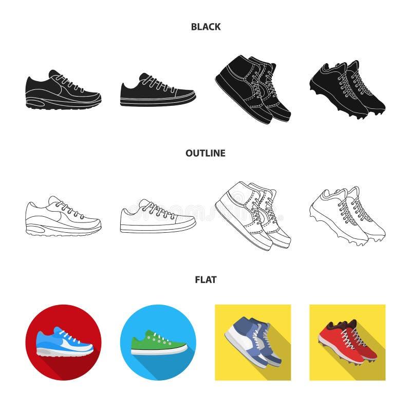 Иллюстрация вектора ботинка и символа спорта Собрание ботинка и значок вектора фитнеса для запаса бесплатная иллюстрация