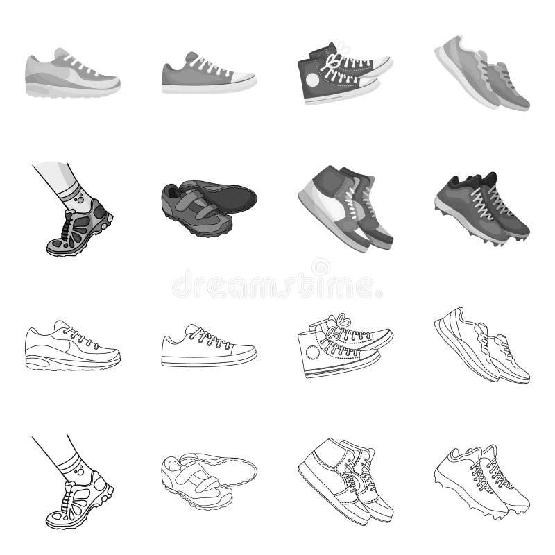Иллюстрация вектора ботинка и символа спорта Собрание ботинка и значок вектора фитнеса для запаса иллюстрация штока