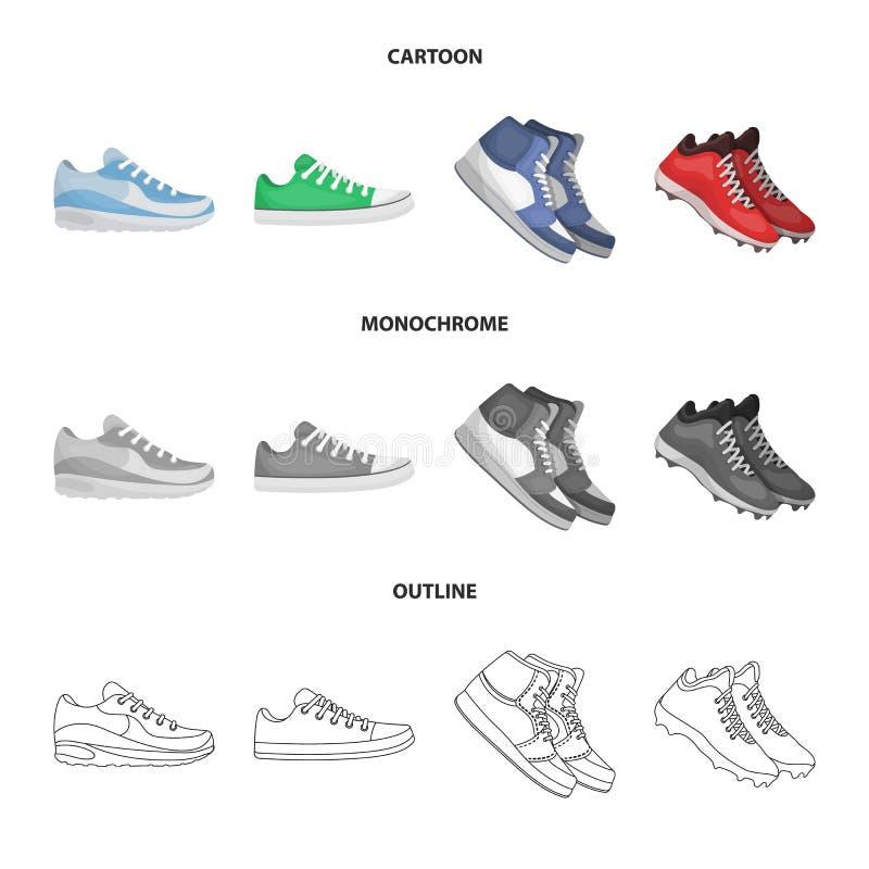 Иллюстрация вектора ботинка и символа спорта Установите ботинка и иллюстрации вектора запаса фитнеса иллюстрация штока