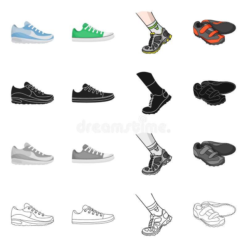 Иллюстрация вектора ботинка и символа спорта Установите ботинка и сокращенного названия выпуска акций фитнеса для сети бесплатная иллюстрация