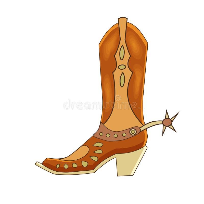 Иллюстрация вектора ботинка ковбоя кожаного Тип шаржа Будьте иллюстрация вектора