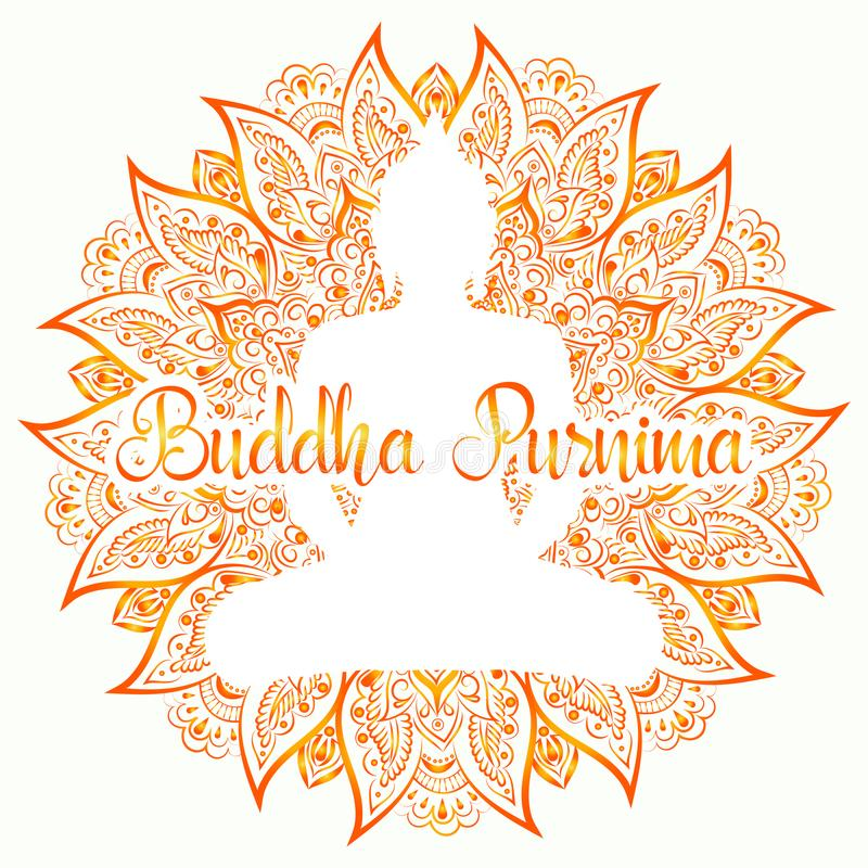 Иллюстрация вектора Будды Purnima Мандала, цветок лотоса с силуэтом buddhas иллюстрация вектора