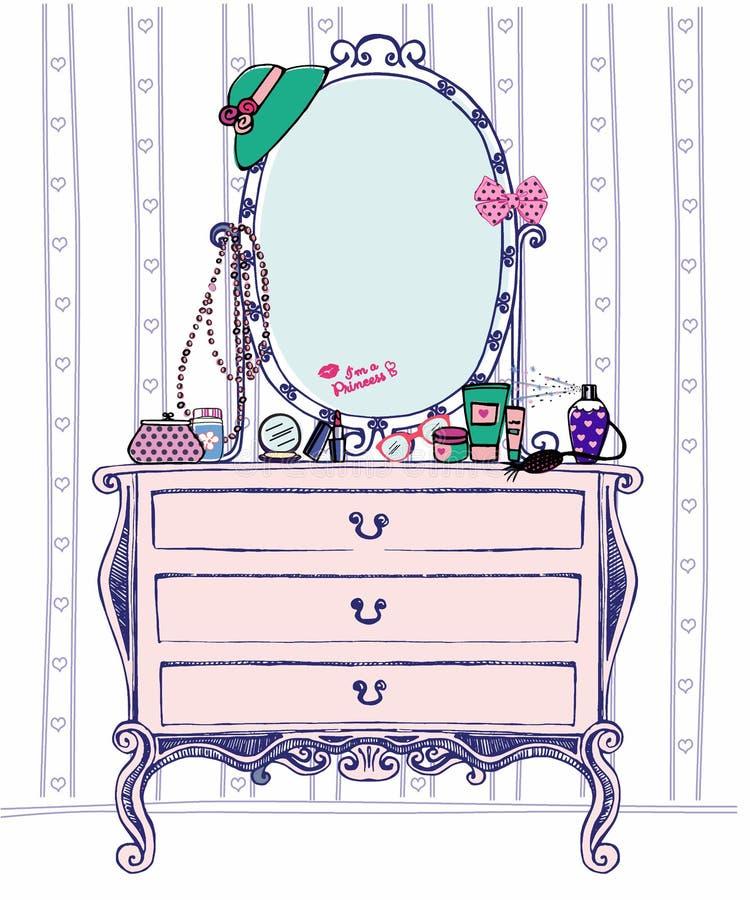 Иллюстрация вектора будуара дам общества с зеркалом консоли и аксессуарами много женщин Комод эскиза ящиков иллюстрация вектора