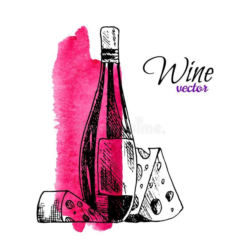 Иллюстрация вектора бутылки и сыра вина Еда руки вычерченные сделанные эскиз к и набор напитка гурмана с акварелью иллюстрация вектора