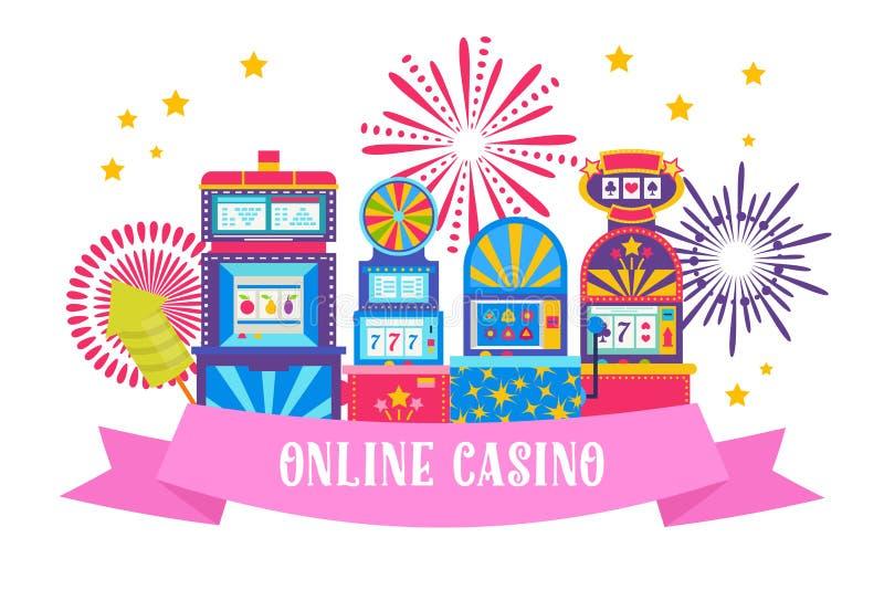 Иллюстрация вектора веб-дизайна знамени казино Джэкпот выигрыша в торговом автомате игры Машина игры, колесо удачи и игра иллюстрация вектора