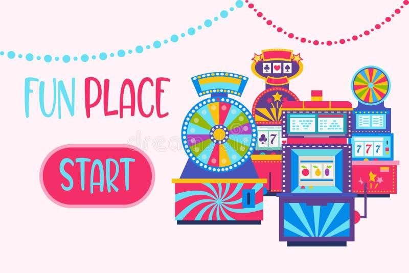 Иллюстрация вектора веб-дизайна знамени казино Джэкпот выигрыша в торговом автомате игры Машина игры, колесо удачи и игра бесплатная иллюстрация