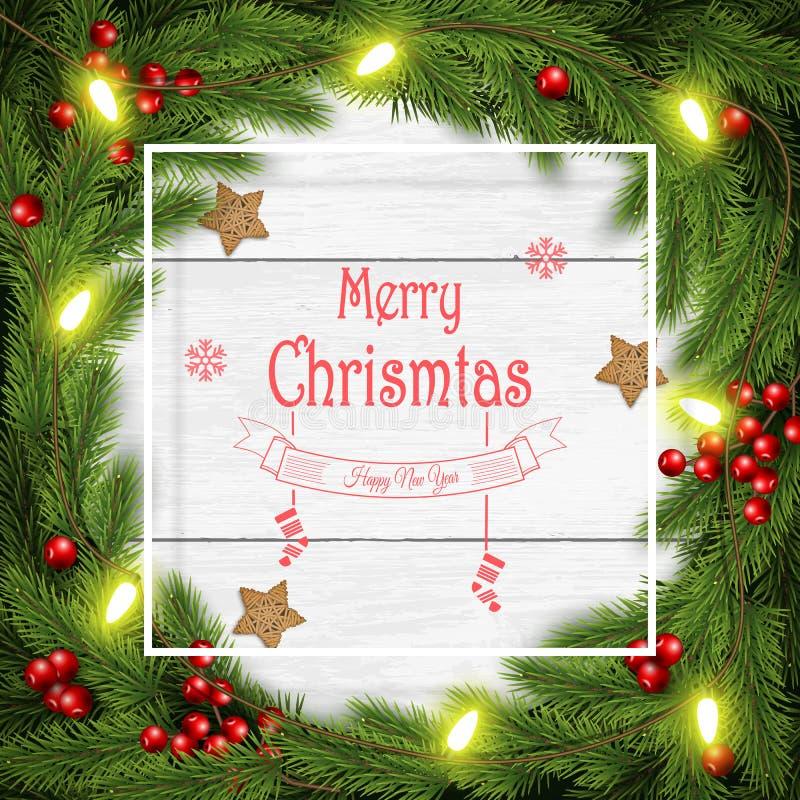 Иллюстрация вектора венка рождества на белой деревянной предпосылке бесплатная иллюстрация