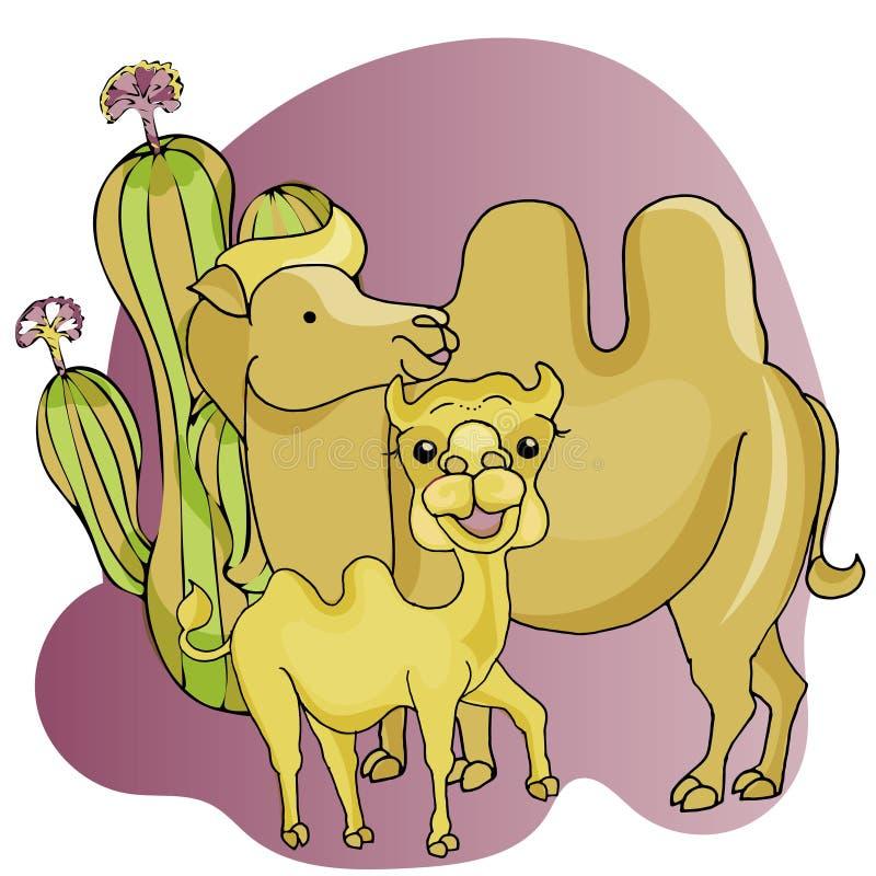 Иллюстрация вектора верблюда шаржа Азиатские животные для детей иллюстрация штока