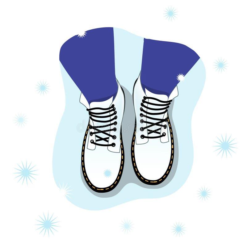 Иллюстрация вектора взгляда сверху женских ног в ботинках на снеге Психологическая концепция личных границ иллюстрация штока