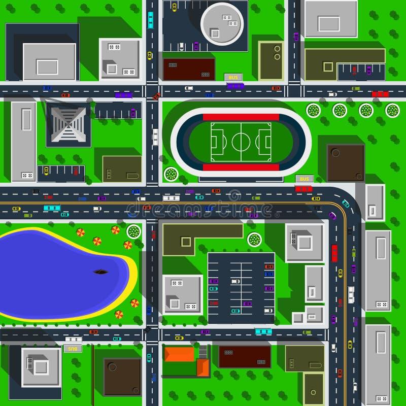 Иллюстрация вектора взгляд сверху карты города иллюстрация штока