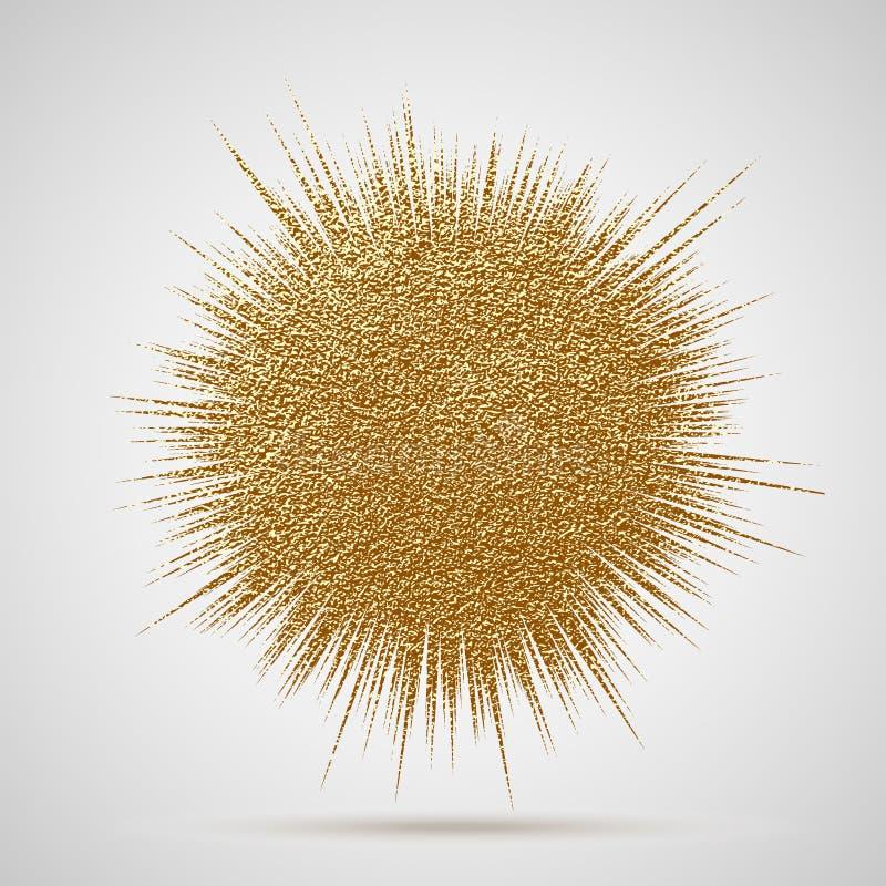 Иллюстрация вектора взрыва Луч или звезда Солнця разрывали элемент с sparkles Яркий блеск золотого зарева элемента рождества золо иллюстрация вектора