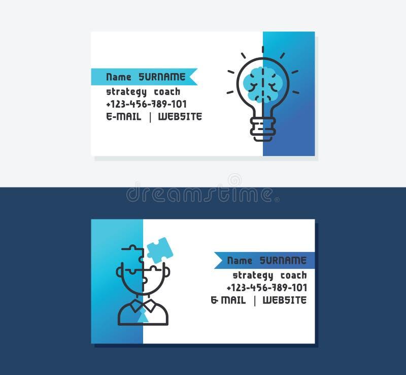 Иллюстрация вектора визитных карточек тренера стратегии Значки с шариком и мозгом Хорошие идеи для превращаться дела Персона иллюстрация вектора