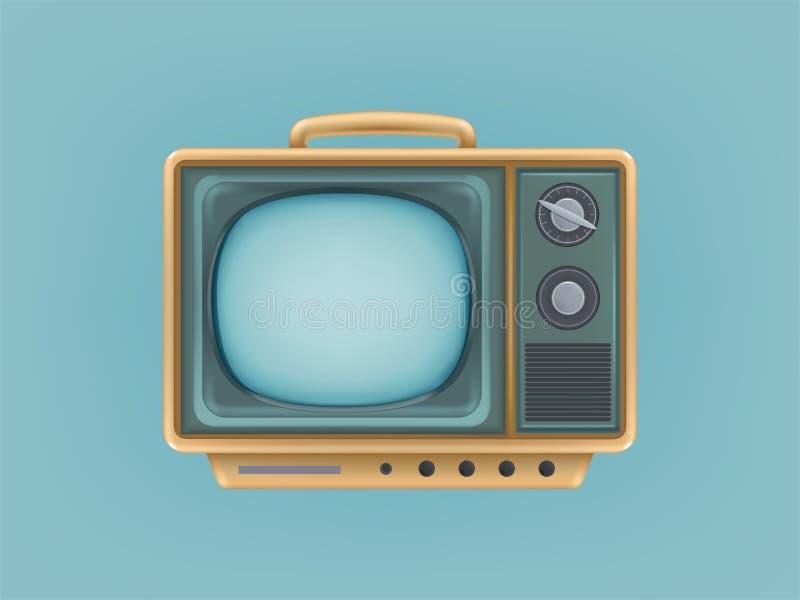 Иллюстрация вектора винтажного телевизора, телевидения Ретро электрическое видео-дисплей для передавать, новости, сеть, сеть бесплатная иллюстрация
