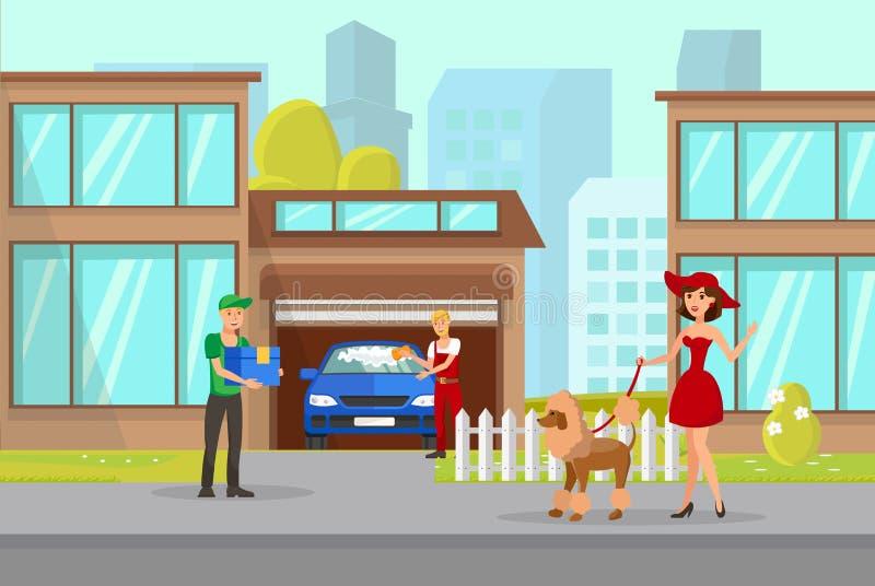 Иллюстрация вектора владельца и носильщика мелких грузов любимца иллюстрация штока