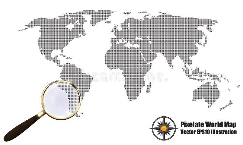 Иллюстрация вектора влияния grunge полутонового изображения абстрактной карты Pixelated черно-белая Силуэт карты мира Континентал бесплатная иллюстрация